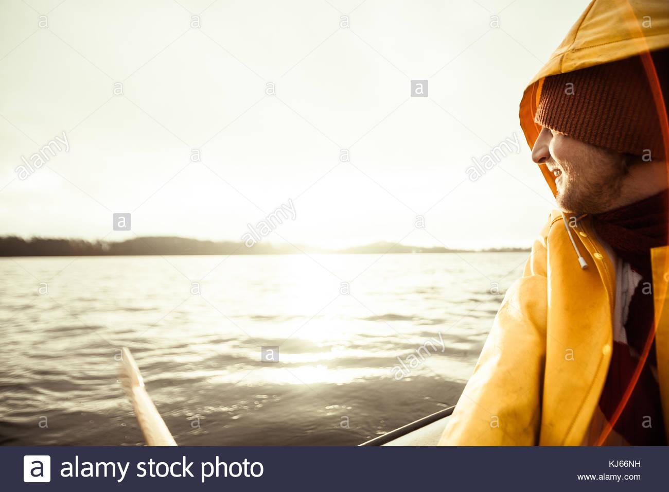 Rowing on lake - Stock Image