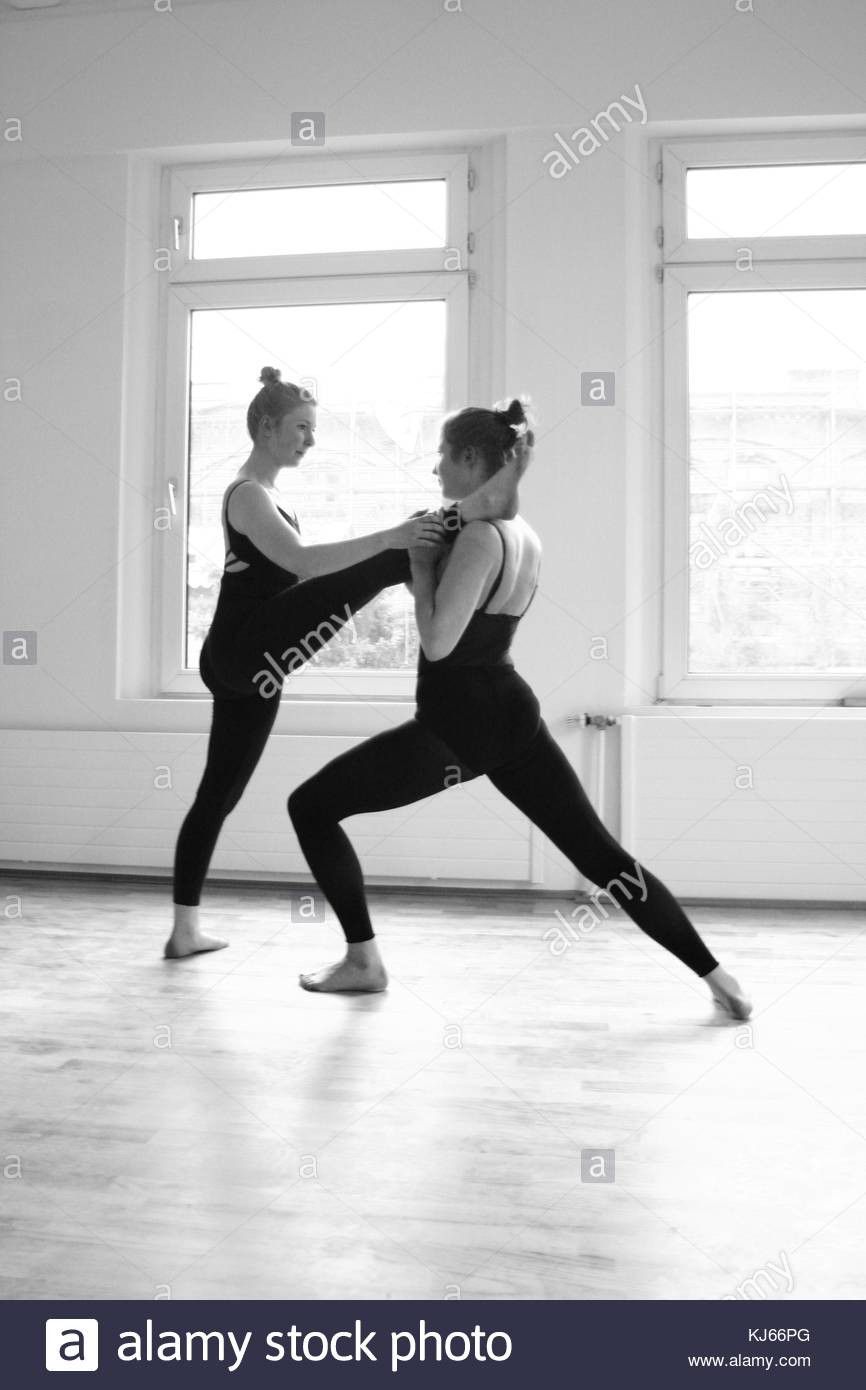 Young women having dance practice - Stock Image