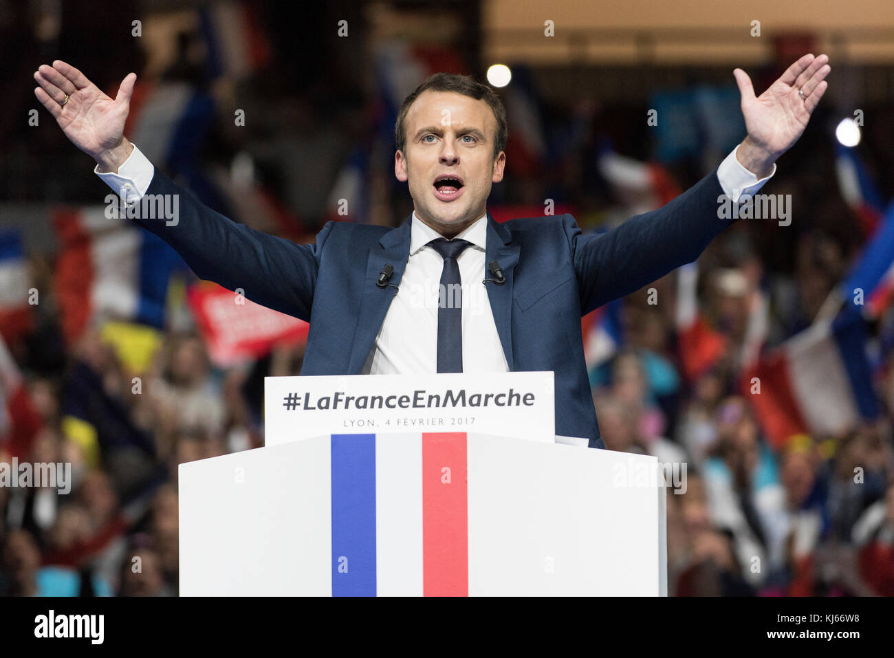 Palais des Sports de Gerland, an indoor sporting arena located in Lyon, on 2017/02/04: meeting with Emmanuel Macron, Stock Photo