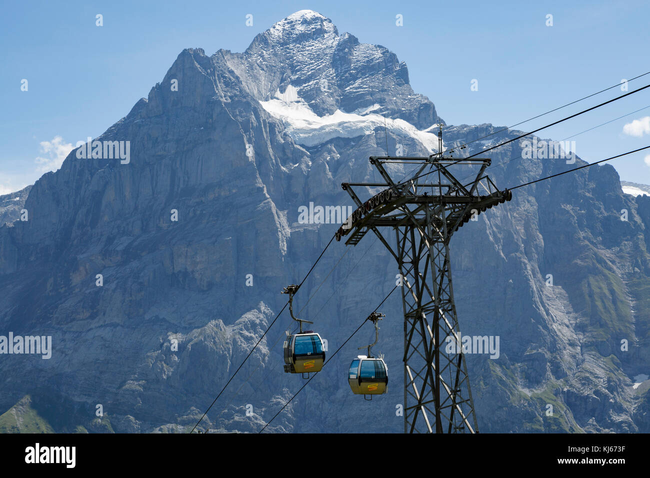 Wetterhorn and the Grindelwald-First cablecar, Switzerland Stock Photo