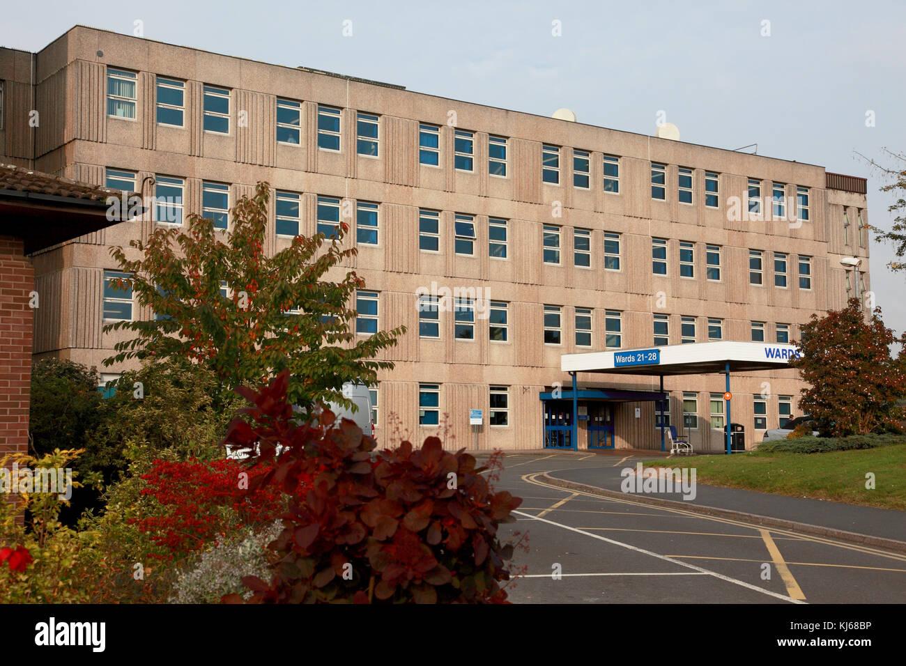 Entrance to the main wards of the NHS Royal Shrewsbury Hospital, a teaching hospital - Stock Image