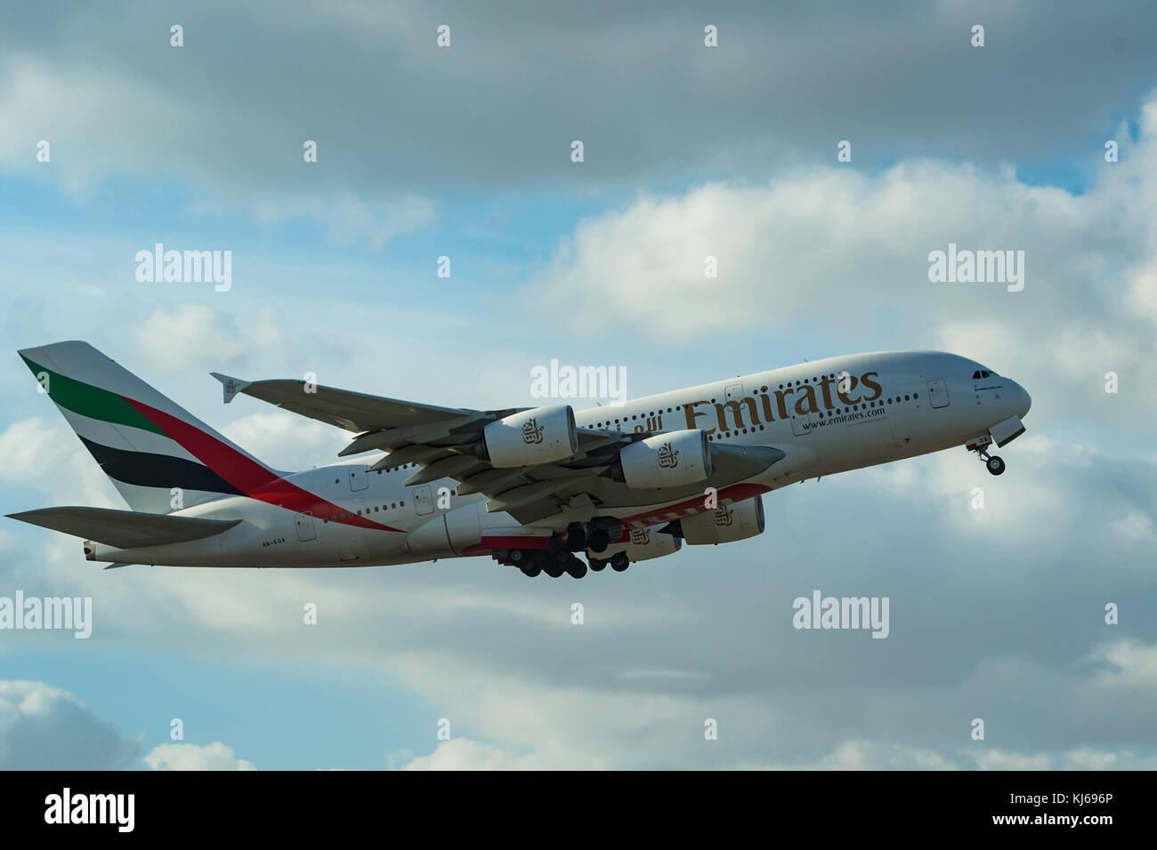 DUBAI, UAE - DECEMBER, 2016: Airbus A380 - Stock Image