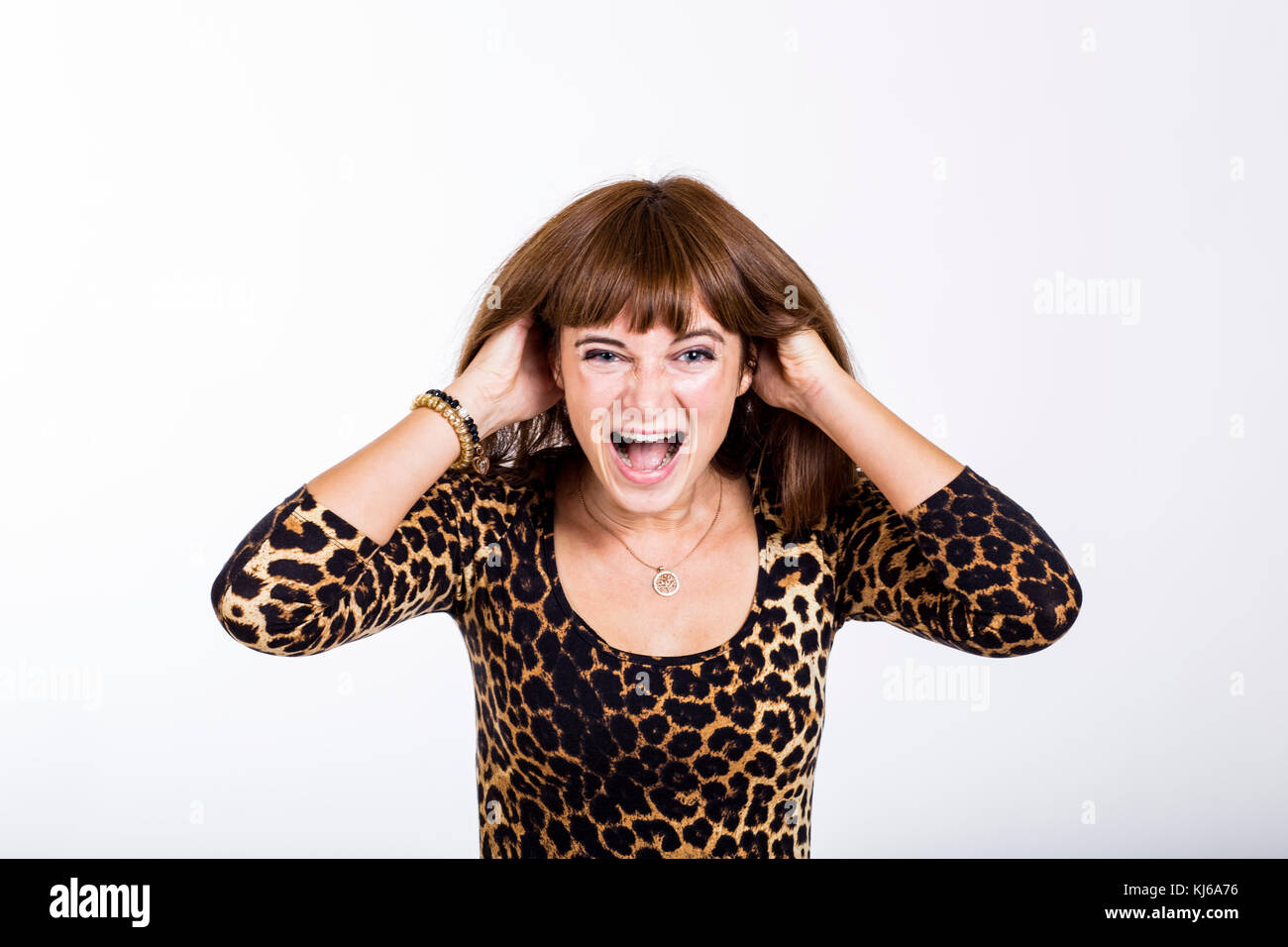 A woman is outraged - Stock Image