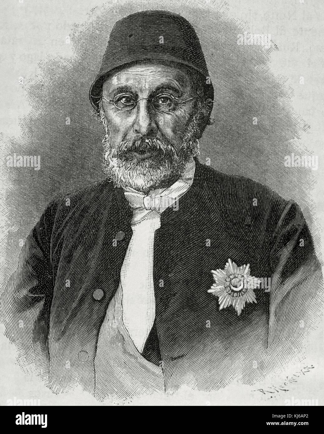 Mehmed Fuad Pasha (1814-1869). Ottoman statesman. Grand Vizier of the Ottoman Empire in 1861. Portrait. Engraving - Stock Image