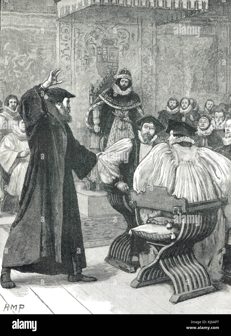 Andrew Melville, before the Privy Council, February 1584 - Stock Image