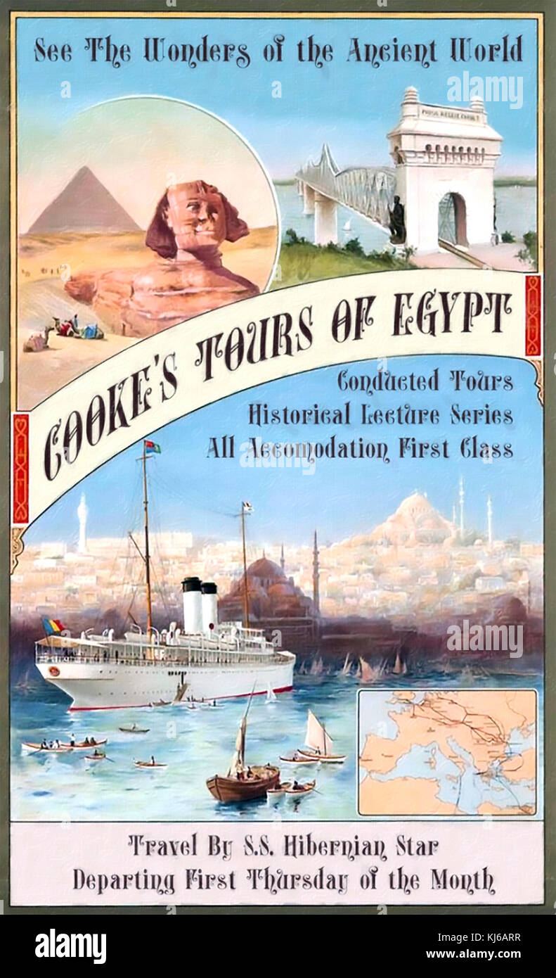 THOMAS COOK (1808-1892) English businessman who founded the travel agency. Poster about 1890 - Stock Image