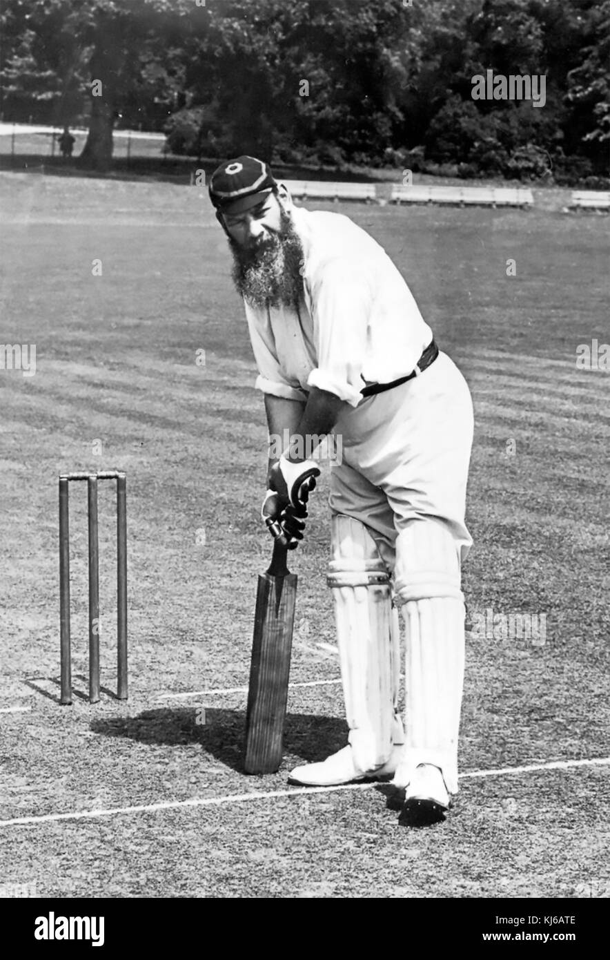 W.G.GRACE (1848-1915) English cricketer about 1890 in the cap colours of Marylebone Cricket Club - Stock Image