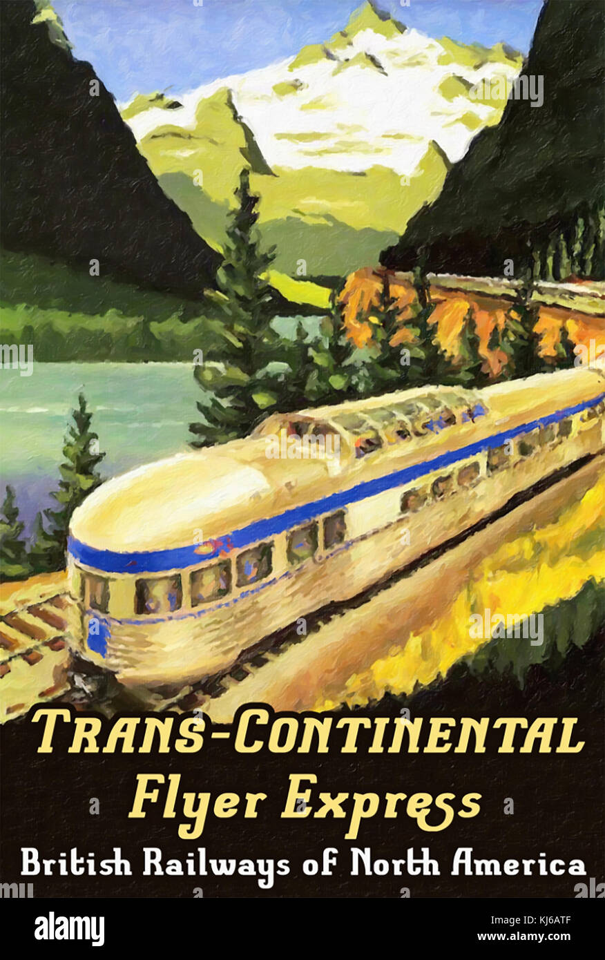 TRANS CONTINENTAL FLYER EXPRESS train poster about 1935 - Stock Image