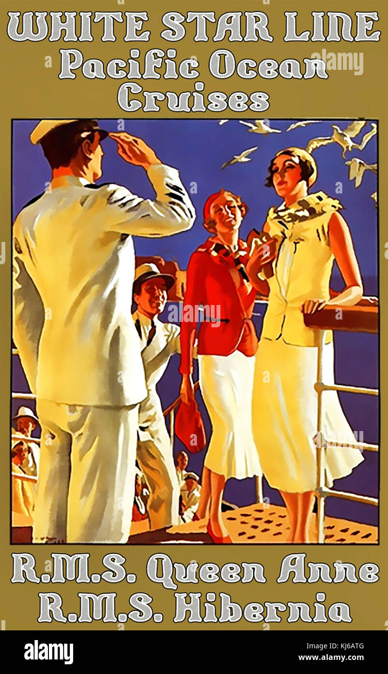 WHITE STAR LINE poster about 1928 - Stock Image