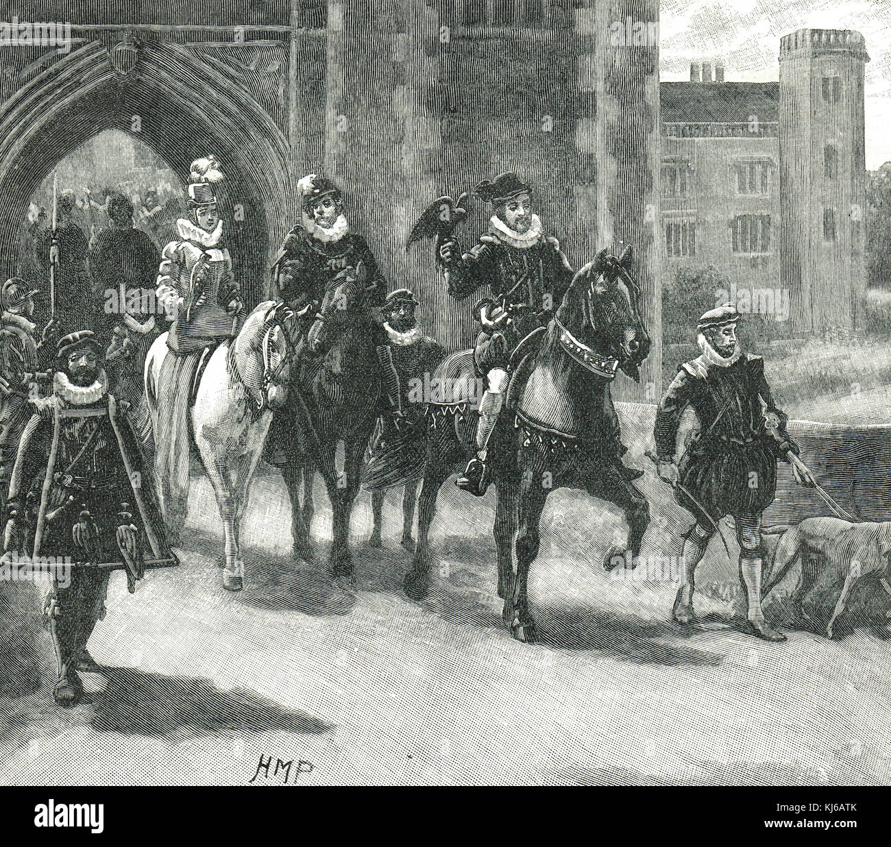King James I, King of England (James VI of Scotland) with courtiers, riding out to Hunt - Stock Image