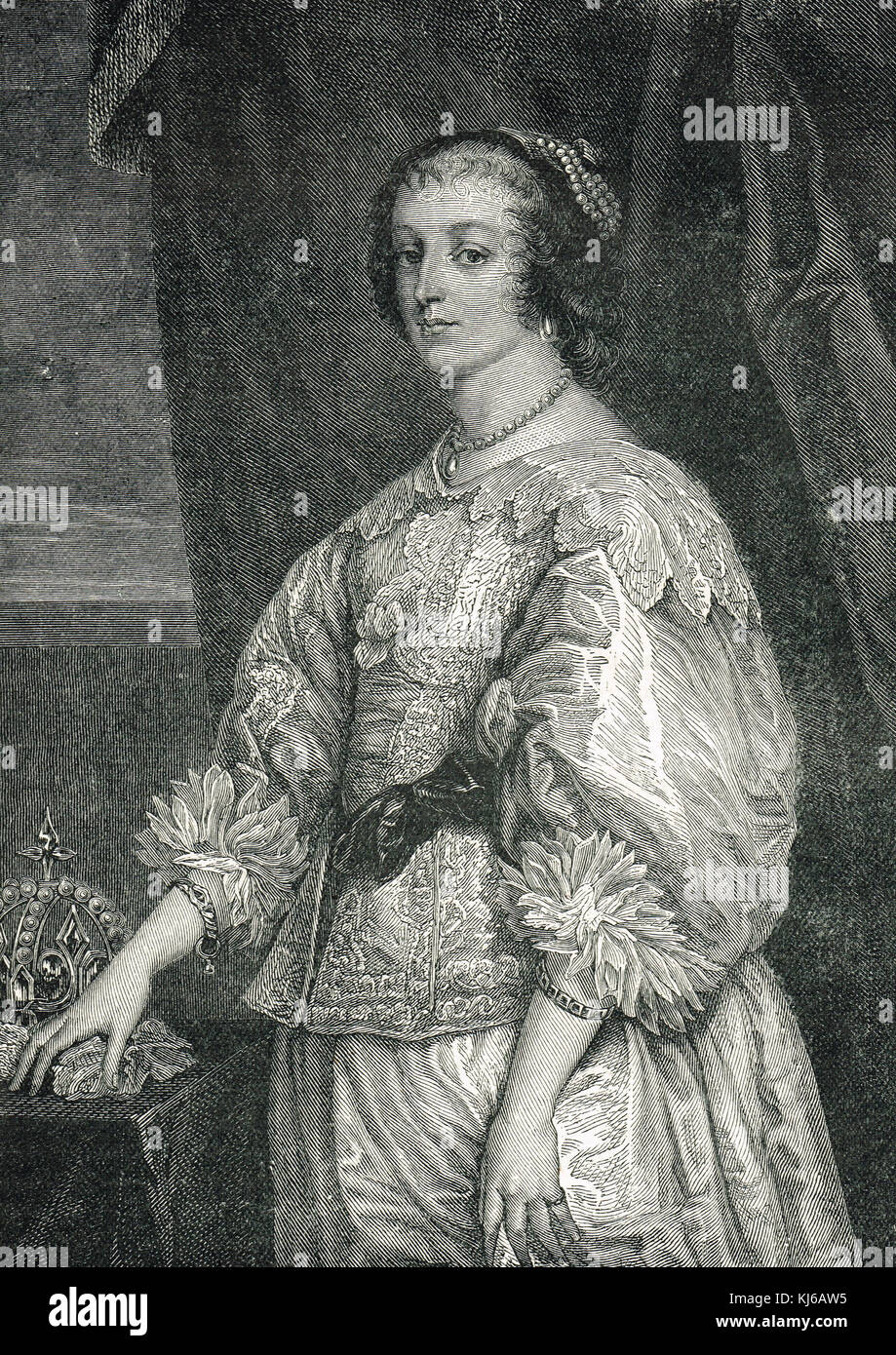 Henrietta Maria of France, queen consort of England Scotland and Ireland, wife of King Charles I - Stock Image