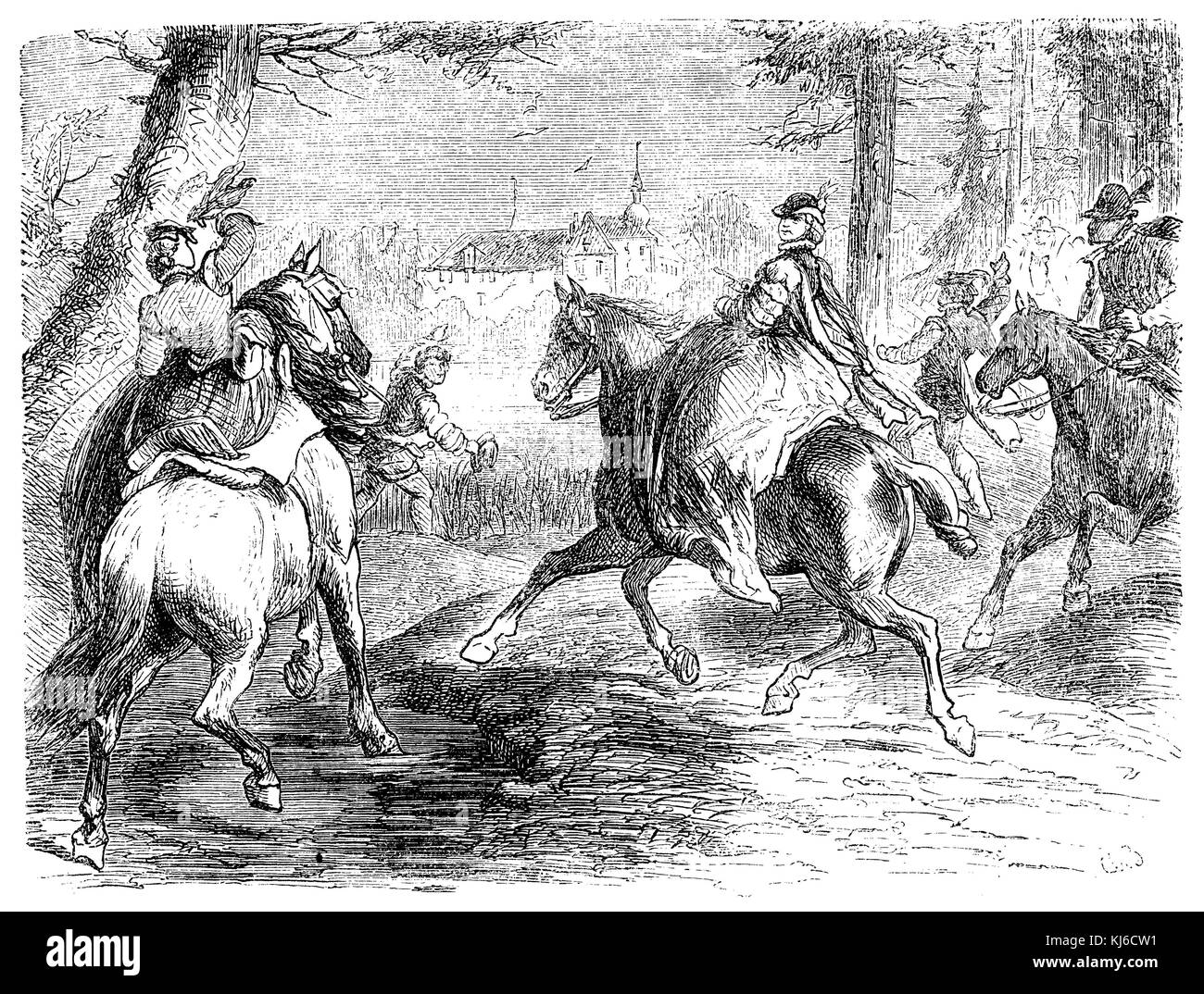 German noble ladies from the Middle Ages hunting with a falcon (Deutsche Edeldamen aus dem Mittelalter beim Auszuge - Stock Image