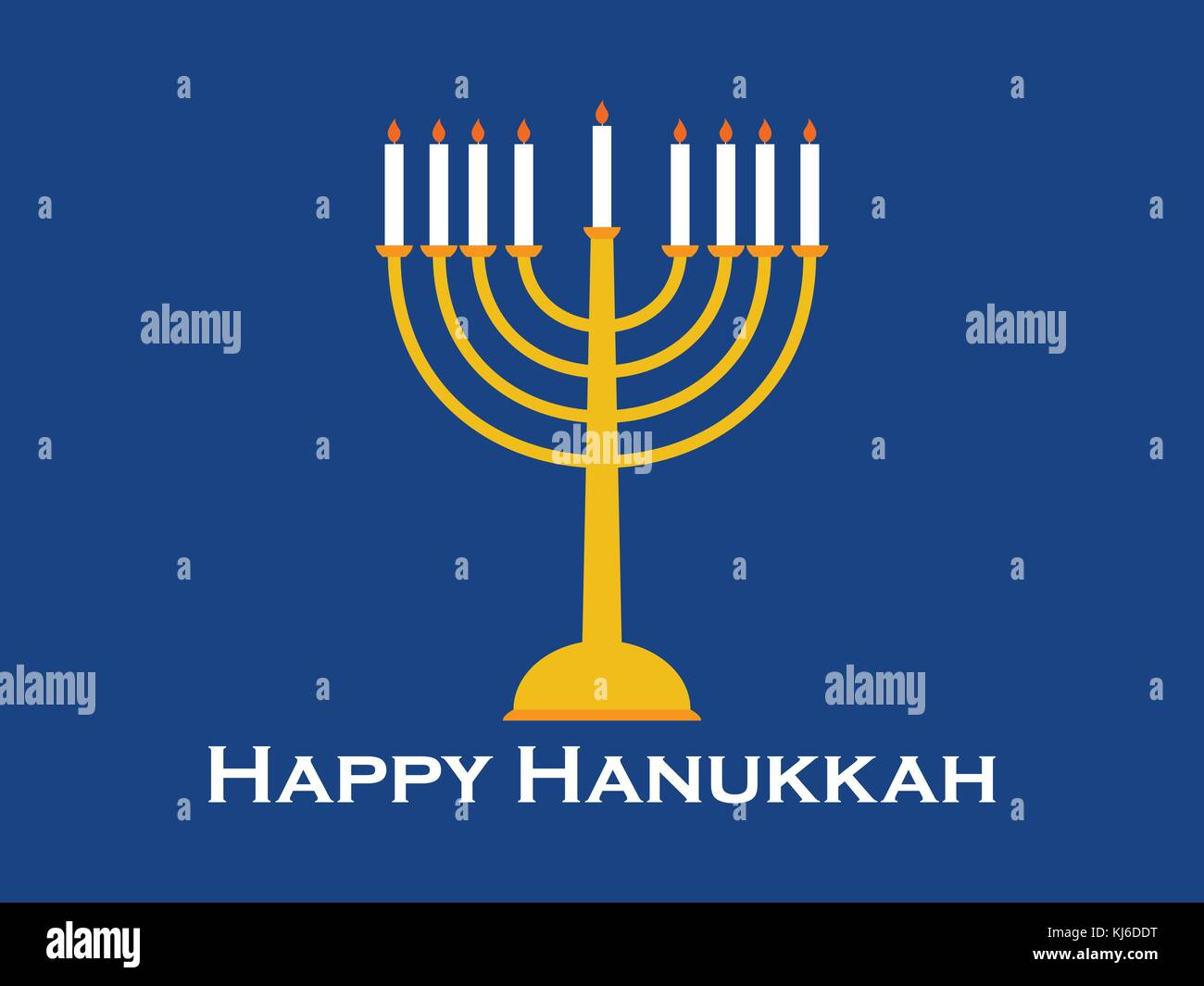 Happy Hanukkah greeting card. Candlestick with nine candles. Vector illustration Stock Vector