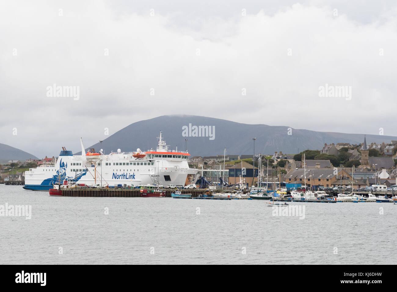 MV Hamnavoe Northlink ferry docked at Stromness, Orkney, Scotland, UK - Stock Image