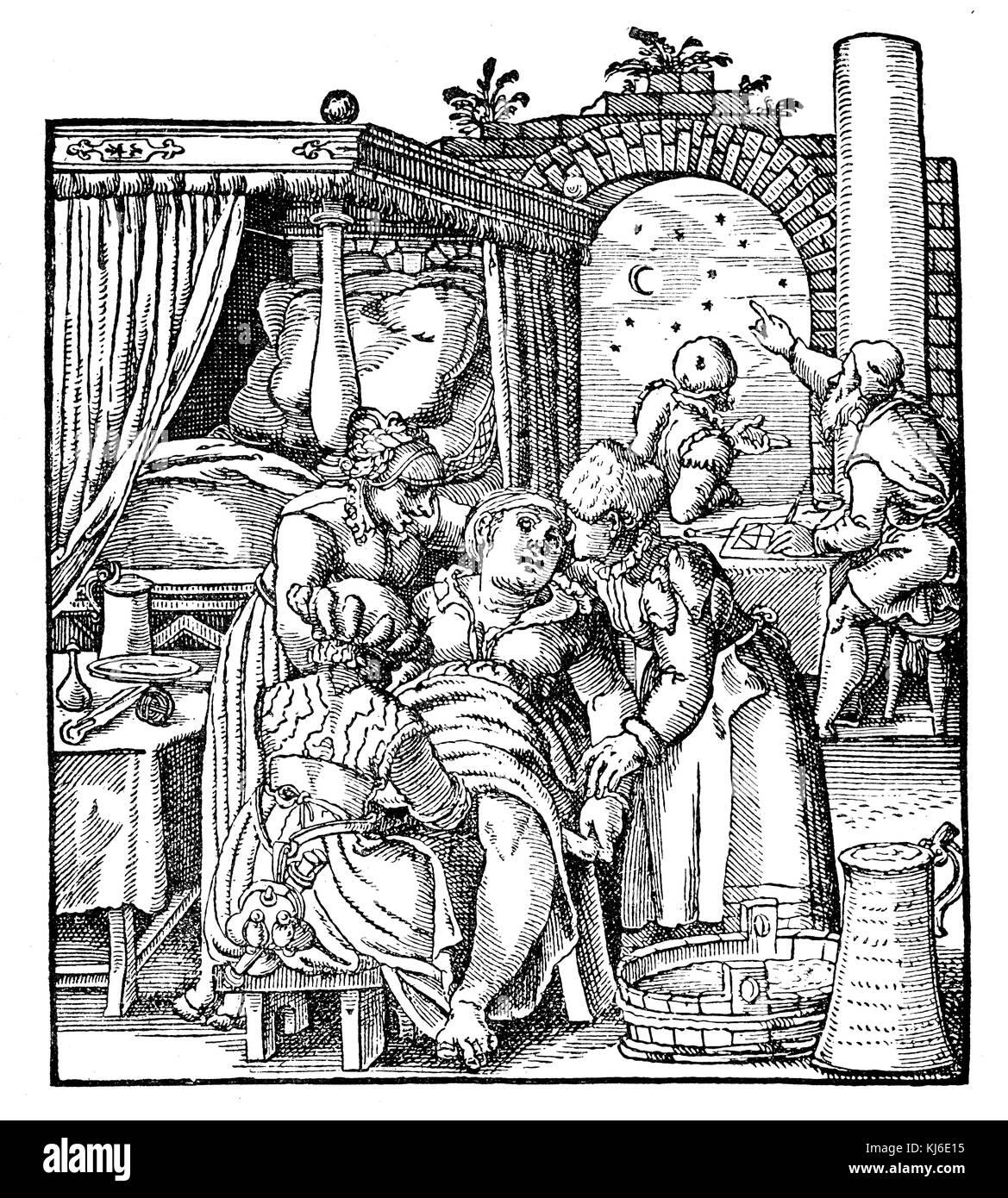 German midwife of the 16th century at birth. From Jacob Rueff (Deutsche Hebamme des 16. Jahrhunderts bei der Geburt. - Stock Image