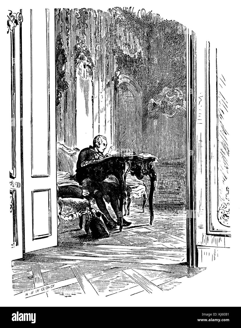 Frederick the Great in his office (Friedrich der Große in seinem Arbeitszimmer) Stock Photo