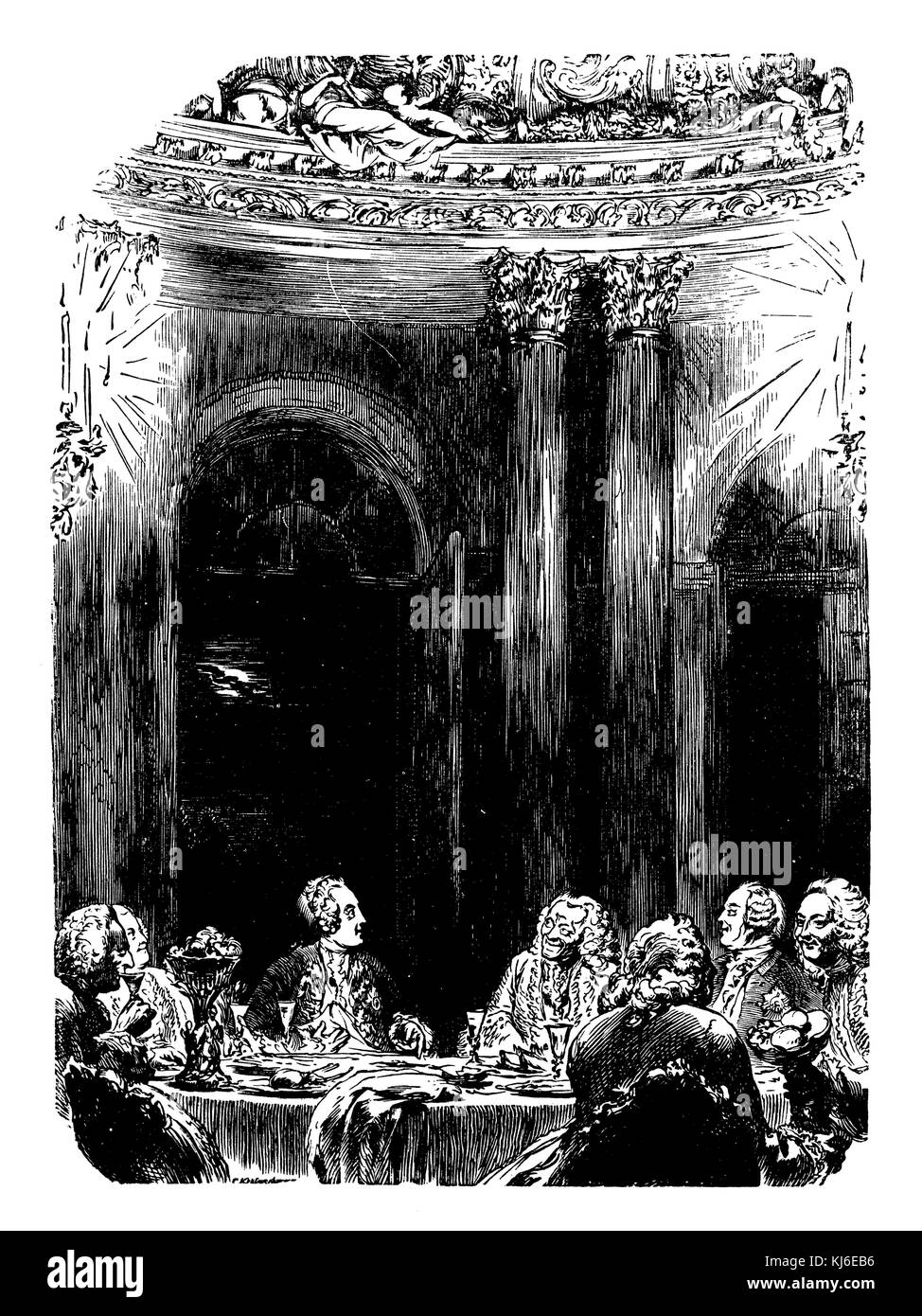 Supper at Schloss Sanssouci, Voltaire and Frederick the Great (Abendtafel im Schloss Sanssouci, Voltaire und Friedrich - Stock Image