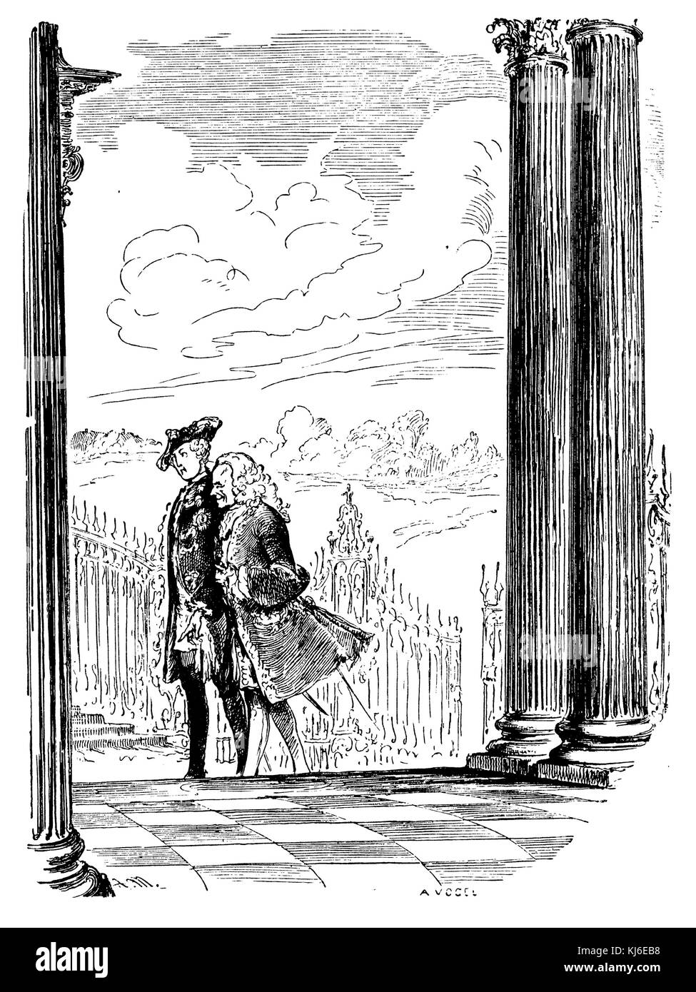 Frederick the Great and Voltaire in Sanssouci (Friedrich der Große und Voltaire in Sanssouci) - Stock Image