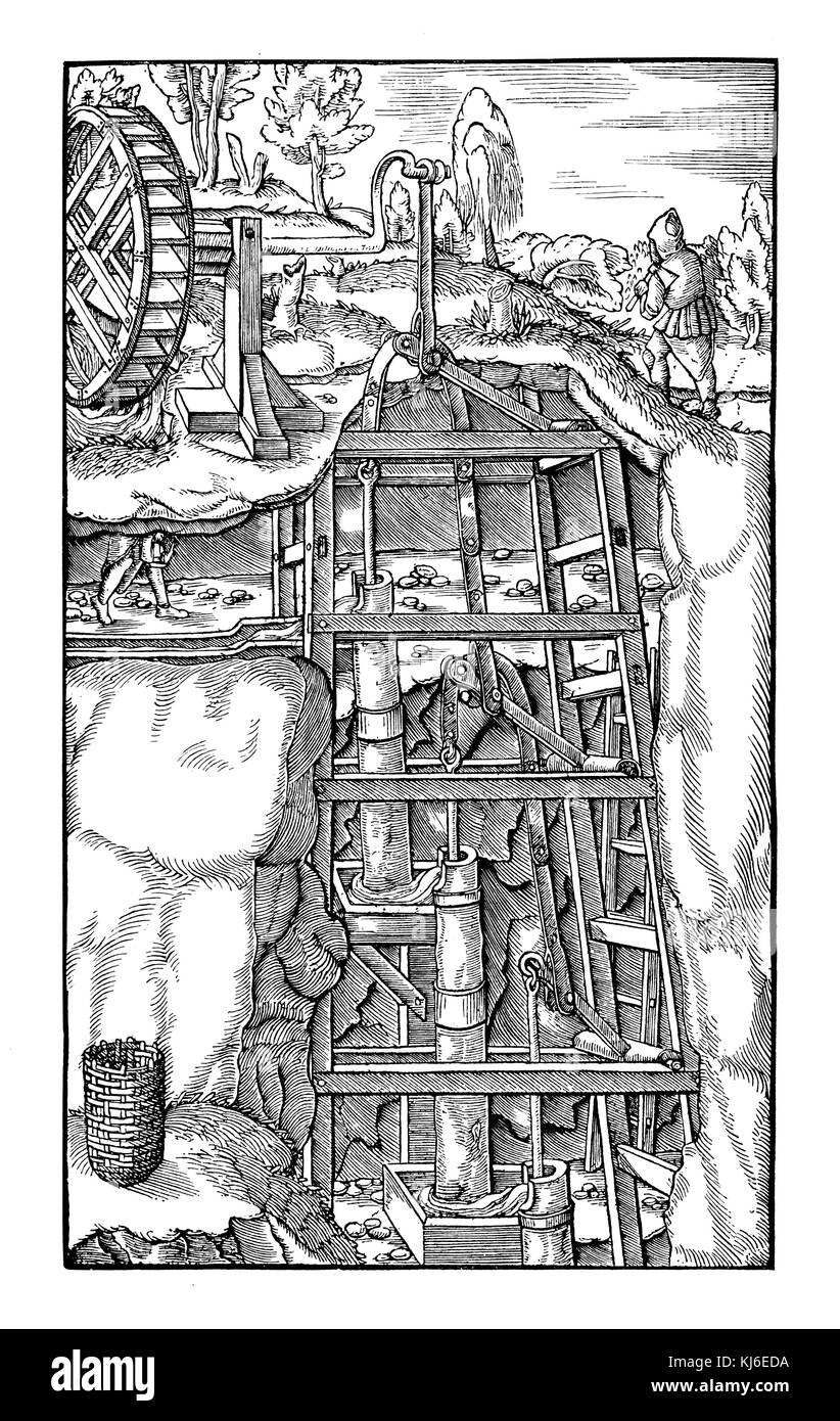 Pump system of a mine. By Georg Agricola Mining Book of 1580 (Pumpenanlage eines Bergwerks. Nach Georg Agricolas - Stock Image