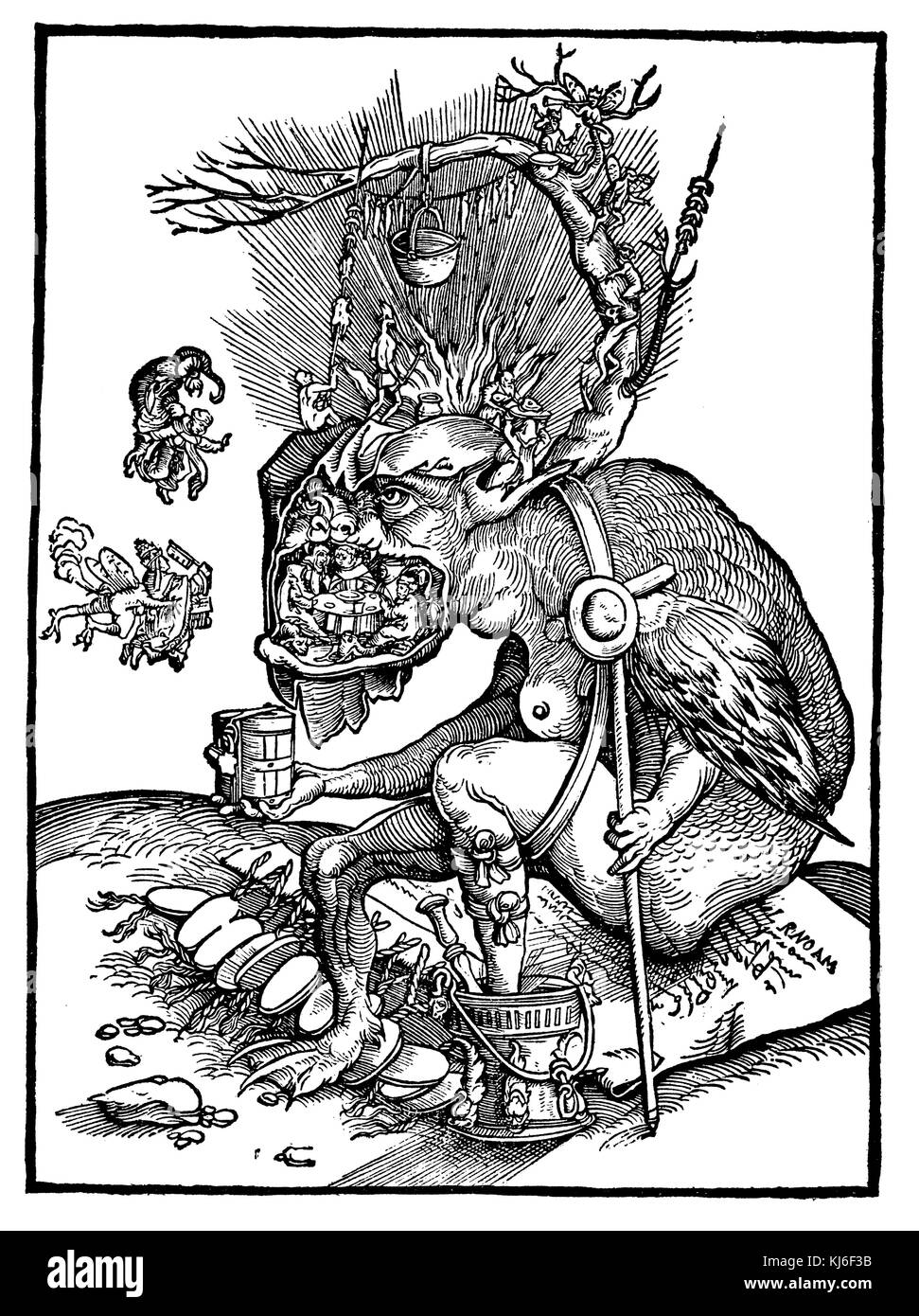 In the jaws of hell. Caricature of the papacy and monasticism. After a woodcut from the Reformation (Im Höllenrachen. - Stock Image