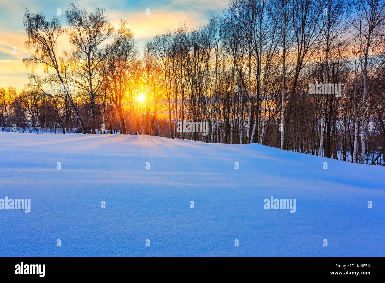 Colorful winter sunset - Stock Image