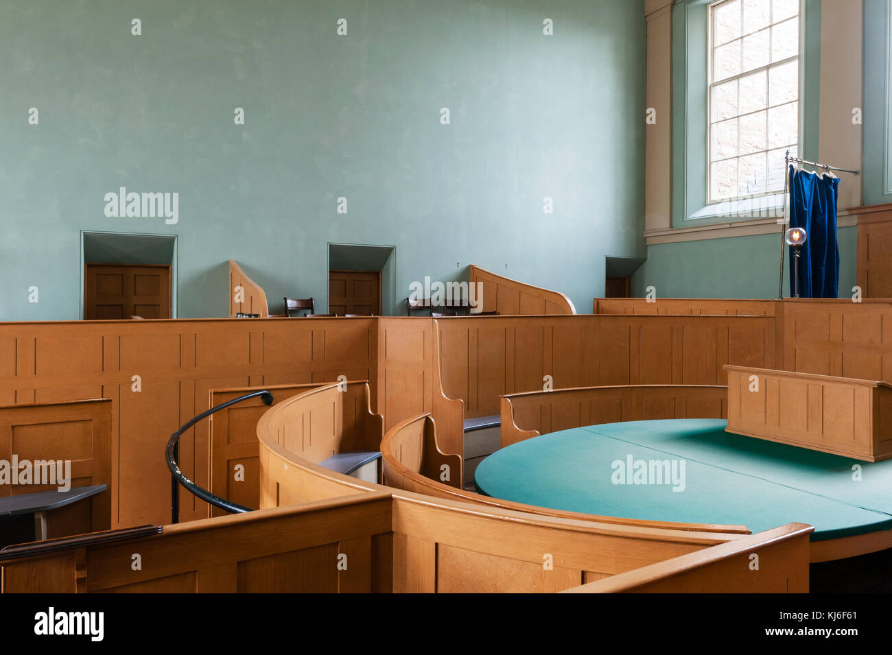 The Judge's Lodging, Presteigne, Powys, UK. An award winning museum of Victorian life. The gaslit courtroom, - Stock Image
