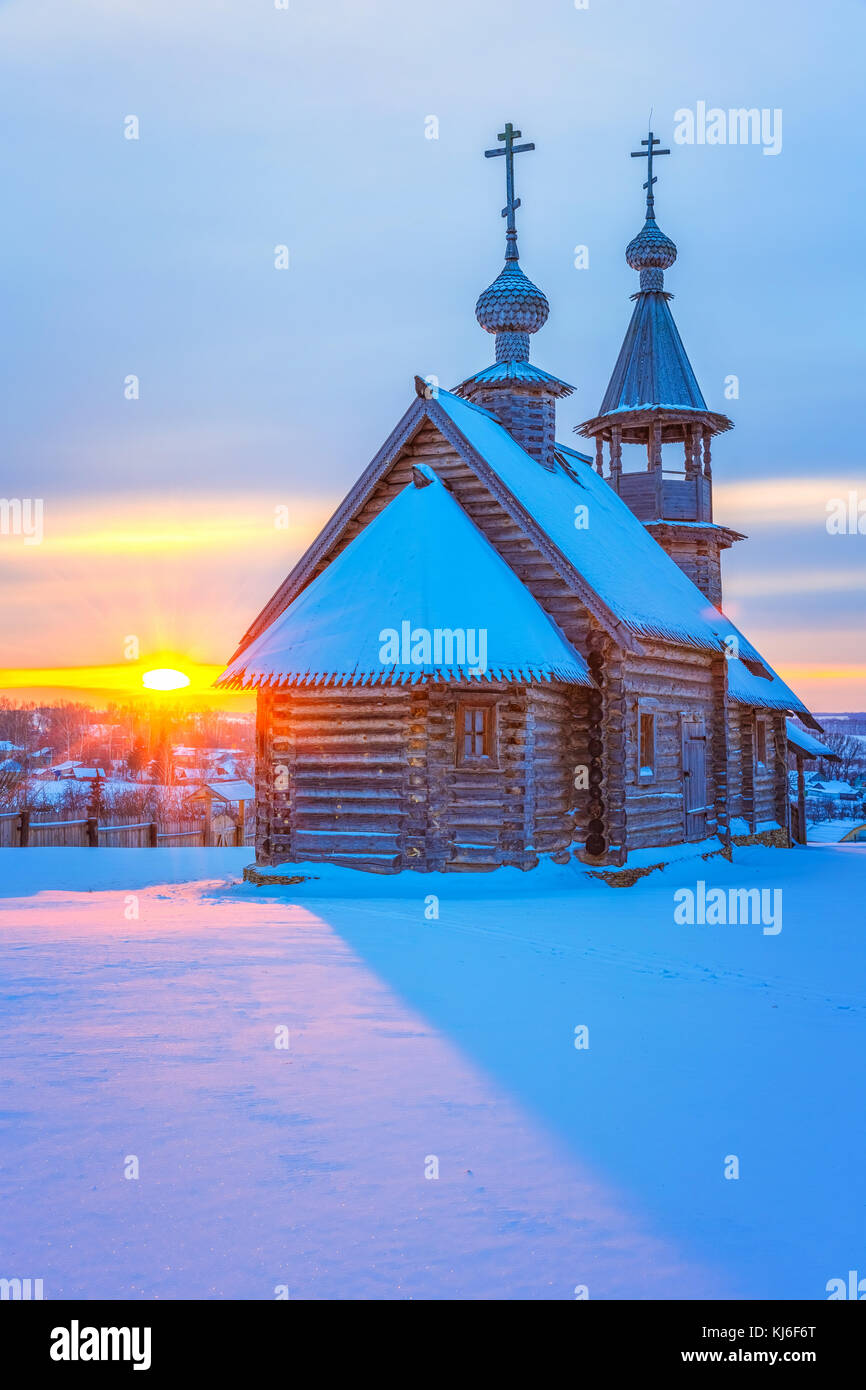 Russian church at sunset - Stock Image