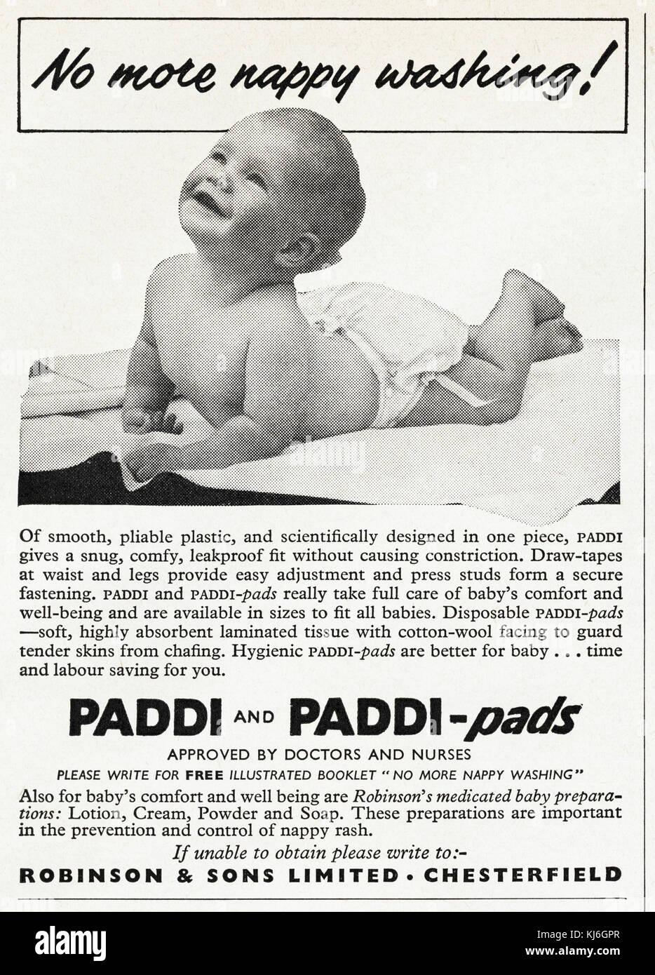 1950s old vintage original advert british magazine print advertisement advertising Paddi-pads babies nappies dated - Stock Image