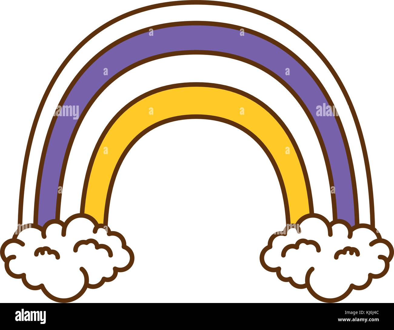 beautiful rainbow and clouds - Stock Vector
