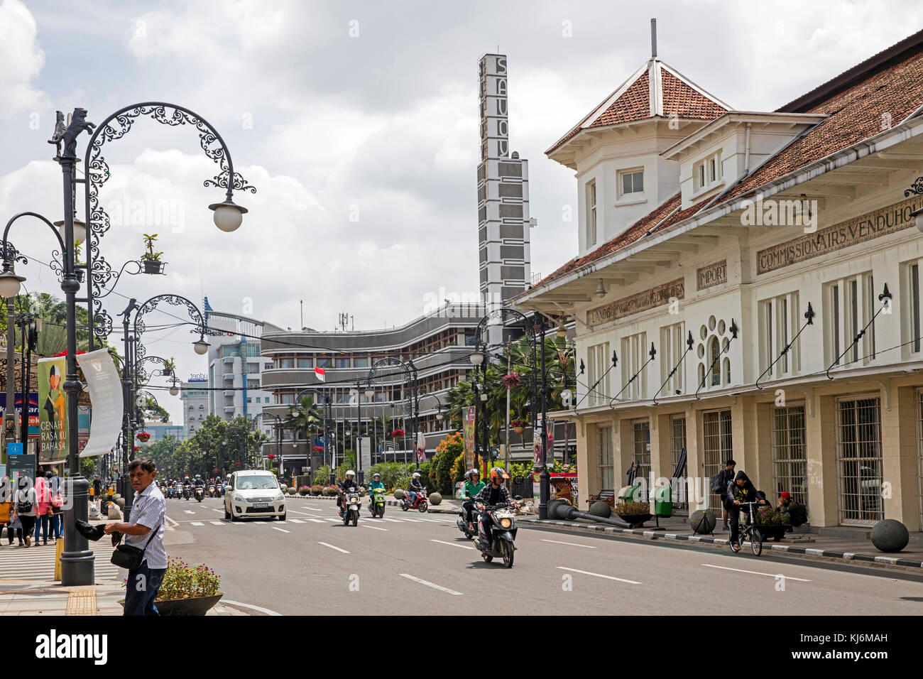 Savoy Homann Bidakara Hotel and Dutch Art Deco colonial building in the Jalan Asia-Afrika street in the city Bandung, - Stock Image