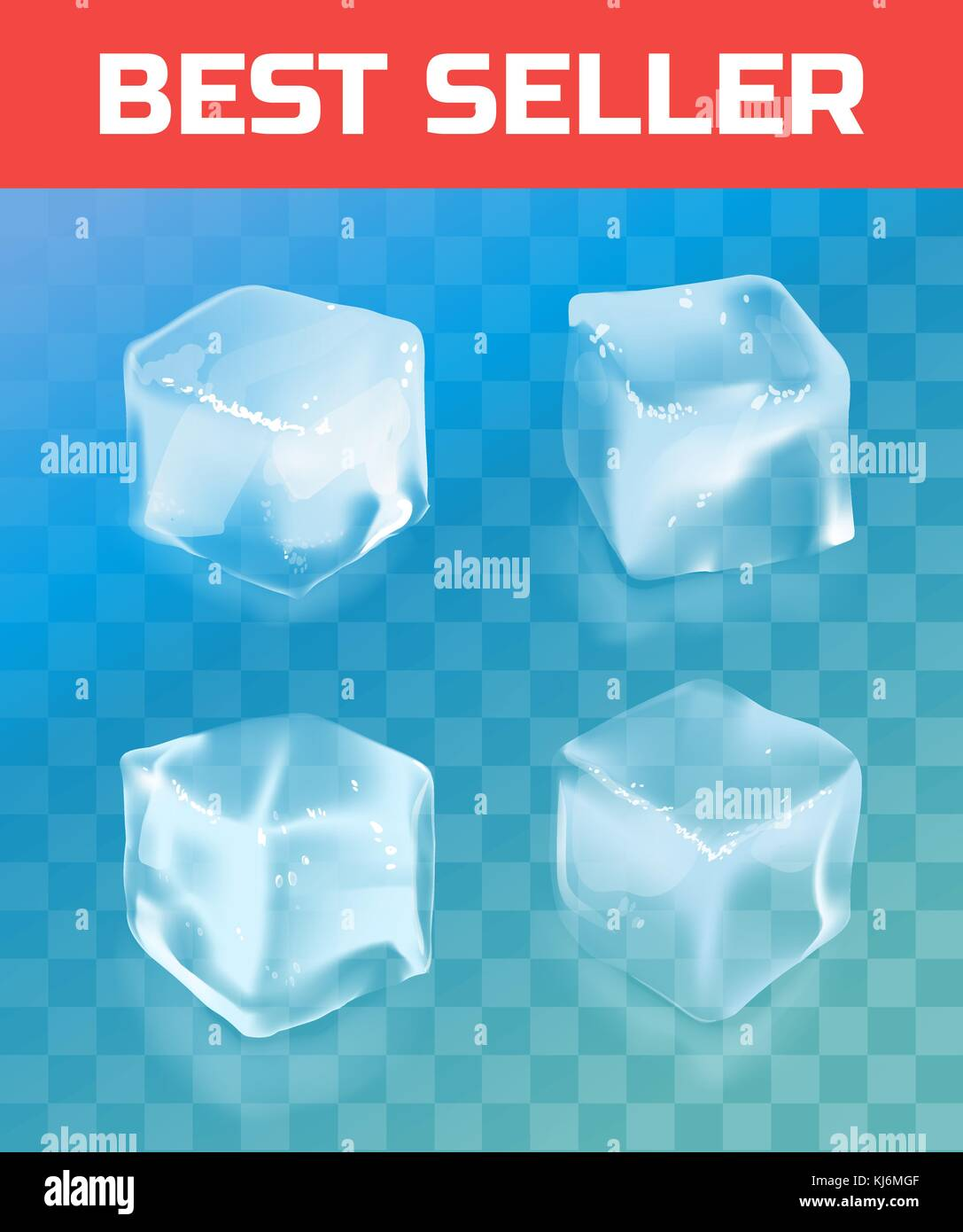 Ice cube. Realistic vector illustration isolated on background. - Stock Image