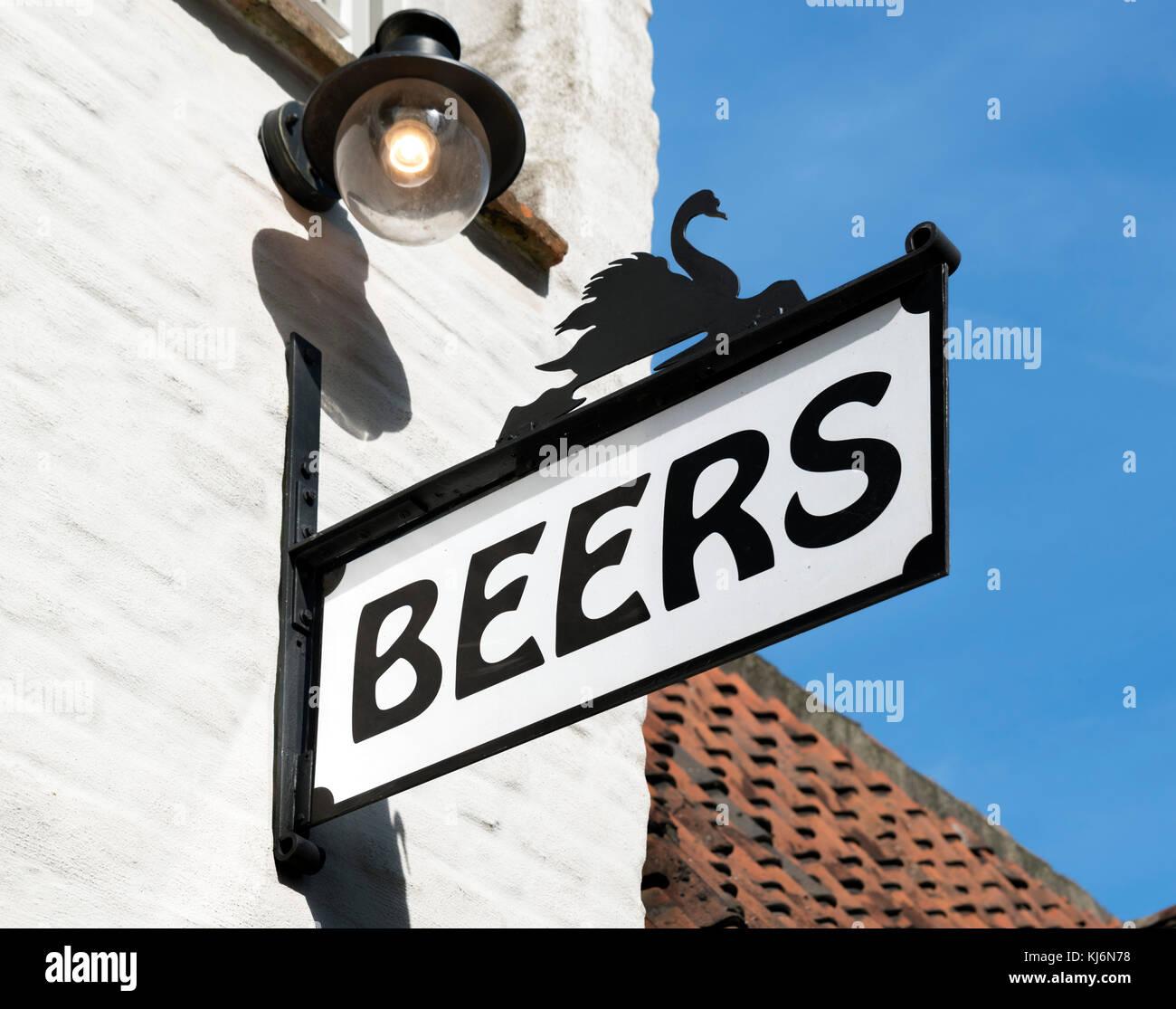 Beer shop selling Belgian beers in Bruges (Brugge), Belgium. - Stock Image