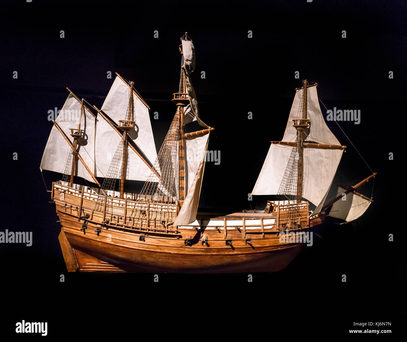Model of the Mary Rose in the Mary Rose Museum, Portsmouth Historic Dockyard, Hampshire, England, UK - Stock Image