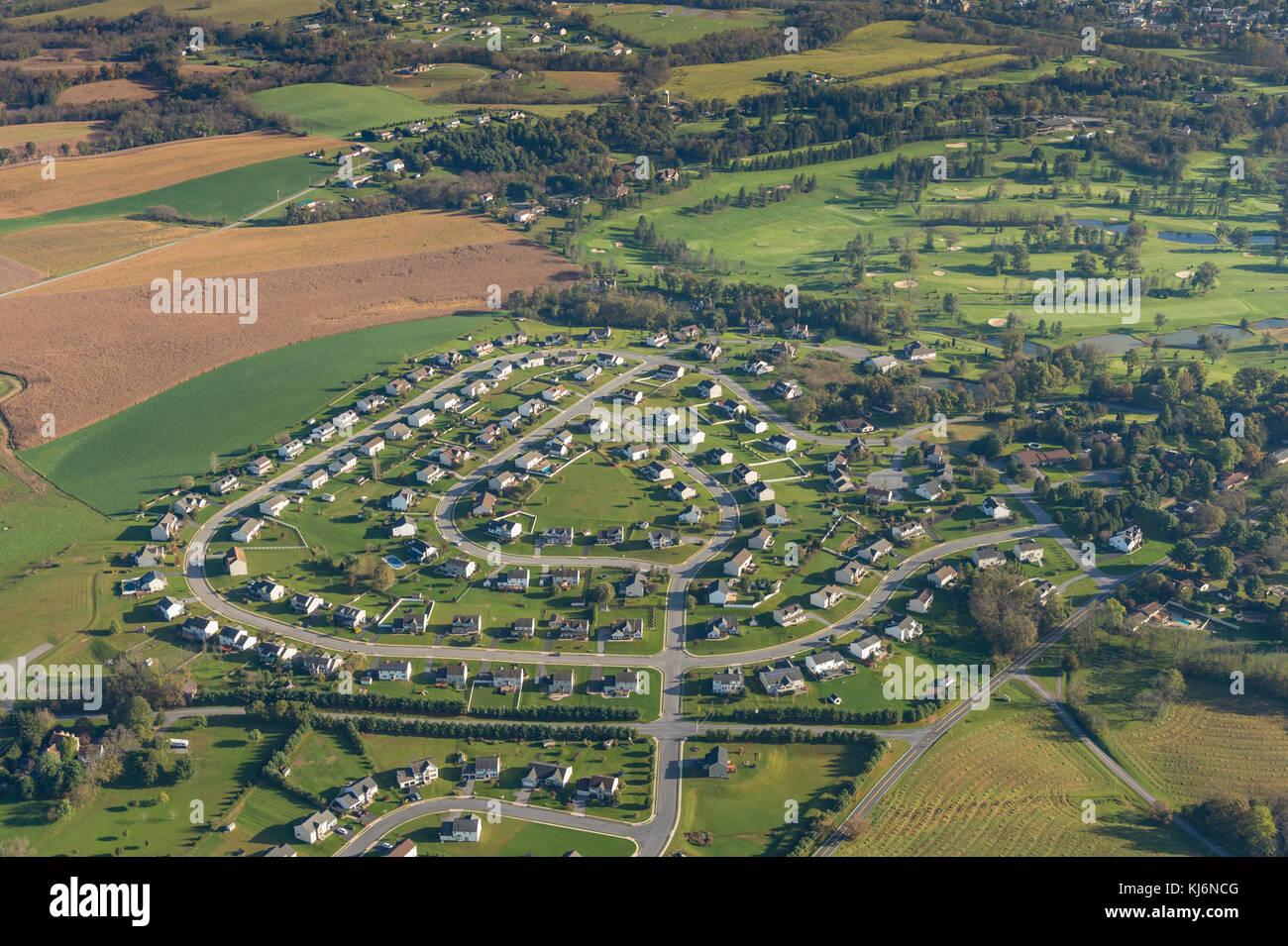 Aerial View Of Suburban Development - Stock Image