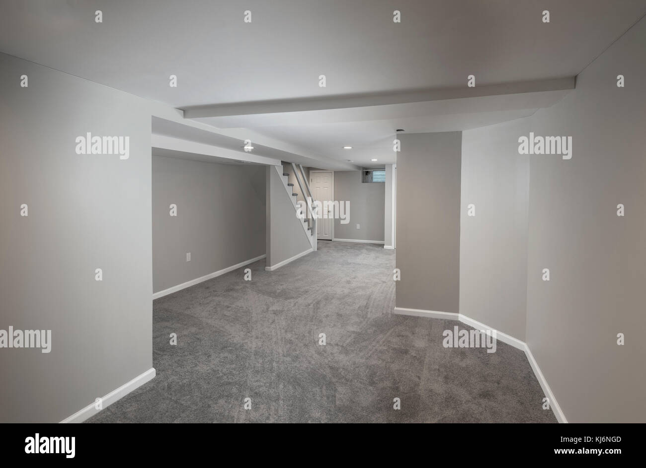 Empty Vacant Finished Basement In Residential Home - Stock Image