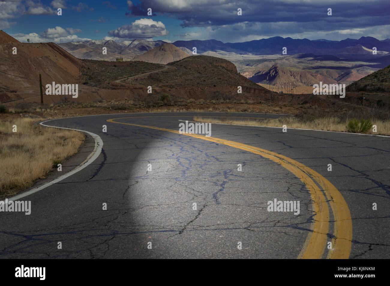 Light Shine On Desert Highway Road - Stock Image