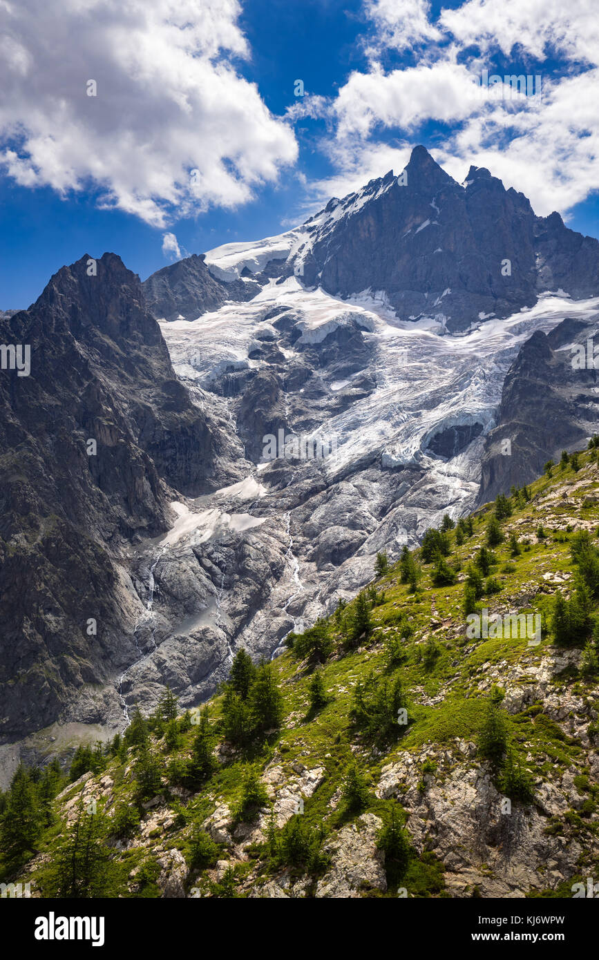 The Meije Glacier and the Glacier du Tabuchet in Summer. Ecrins National Park, Soutern French Alps, France - Stock Image