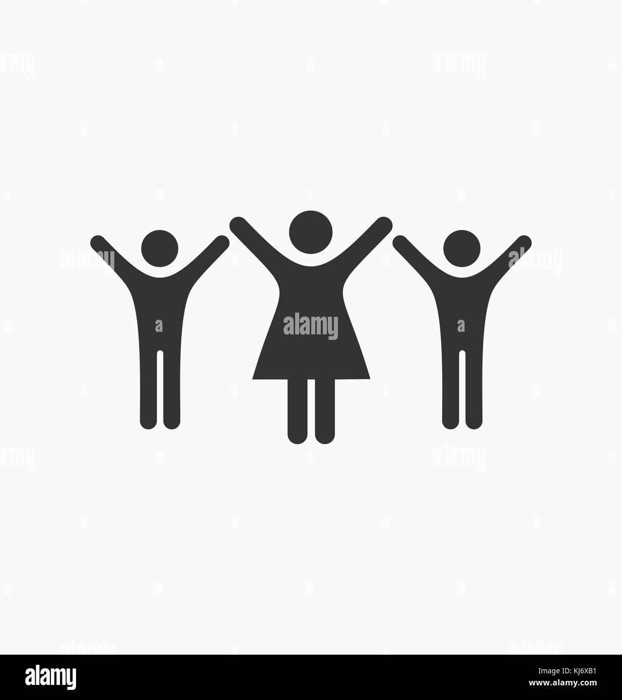 Silhouette people icons. Kids hands up. Peace. - Stock Vector