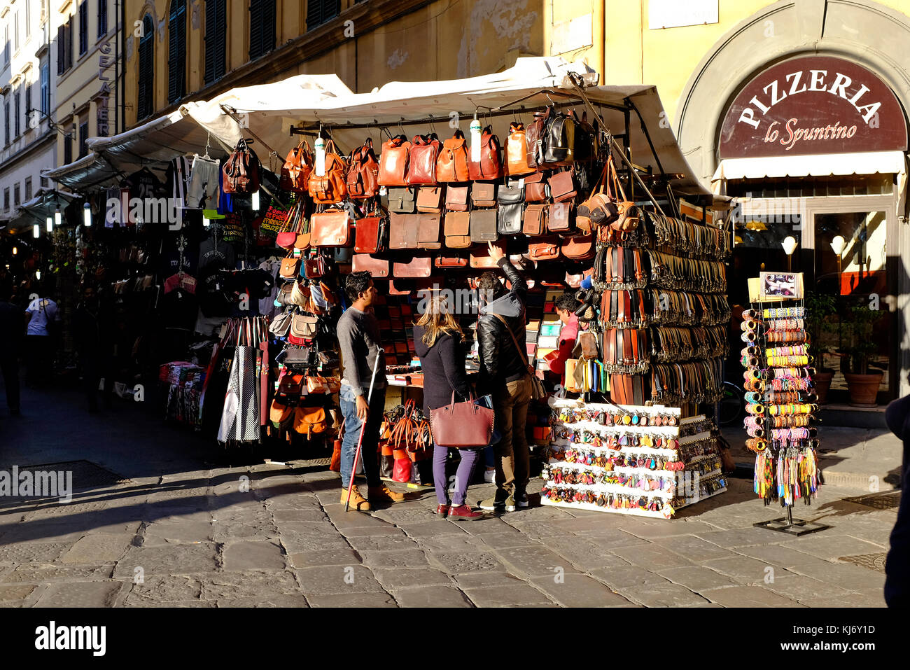 leather goods stall, florence, italy Stock Photo