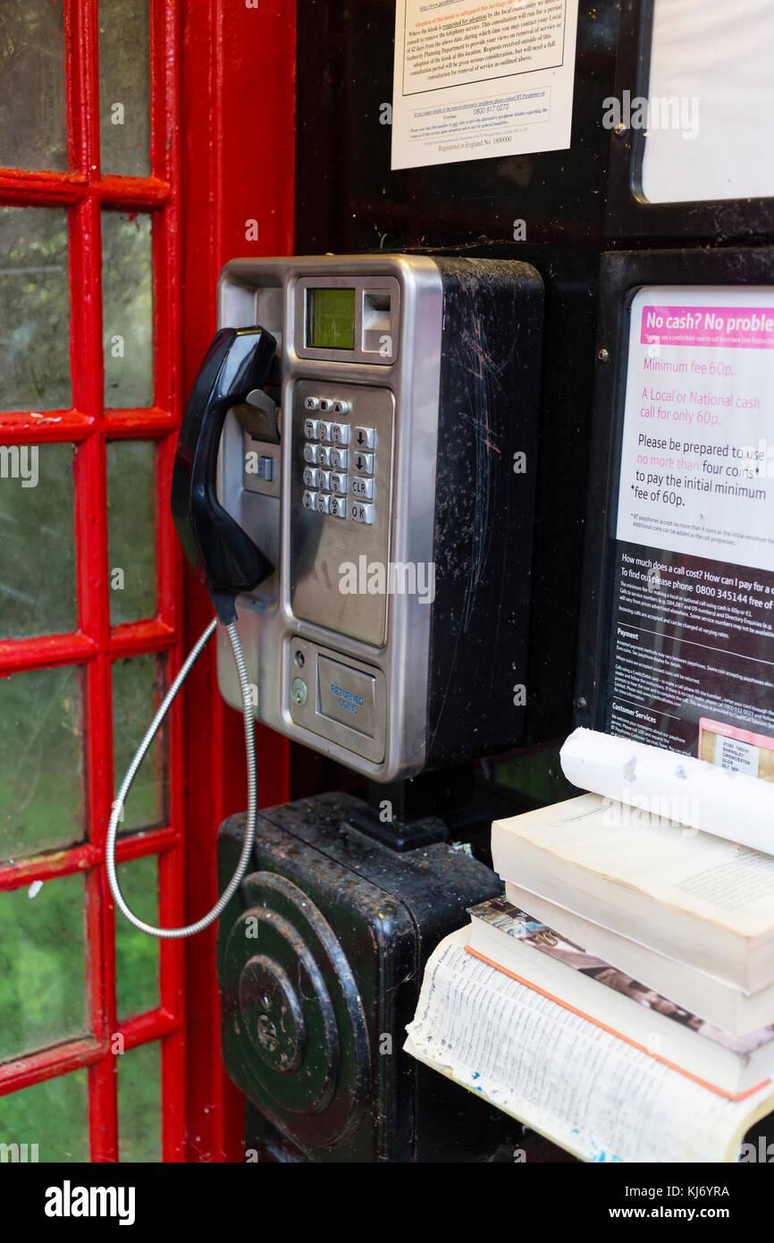 Red Phone Box Interior Stock Photos Telephone Wiring Uk Barnsley Village Cotswolds Gloucestershire England