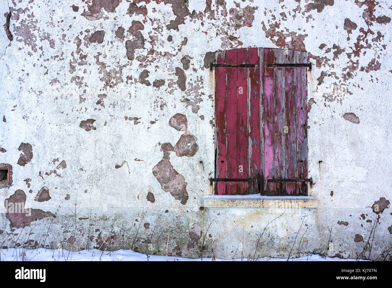 An old window with closed red worn wooden shutters on a white decrepit wall in winter with copy space. - Stock Image