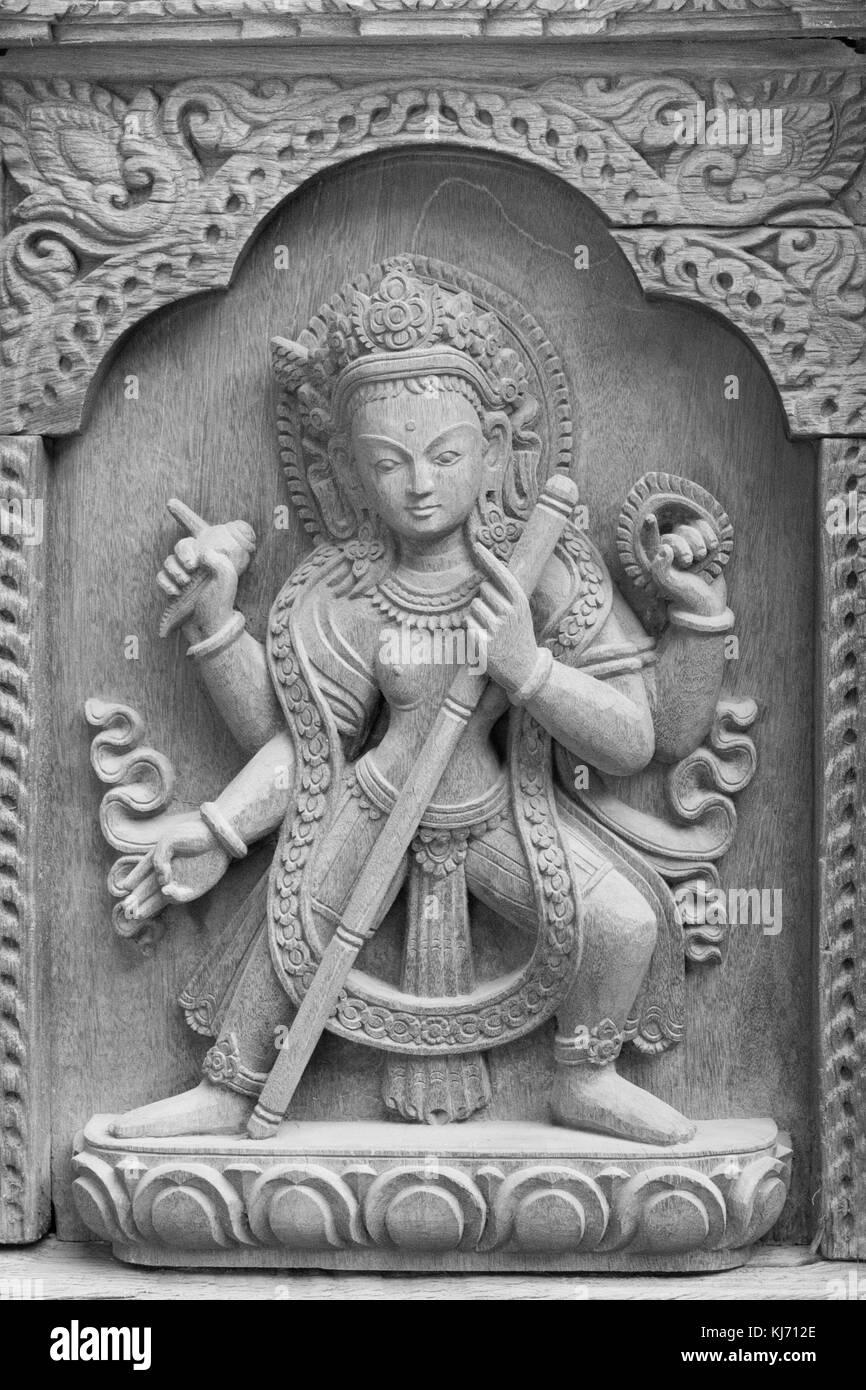 Shiva the destroyer, wood sculpure, Patan, Nepal. - Stock Image