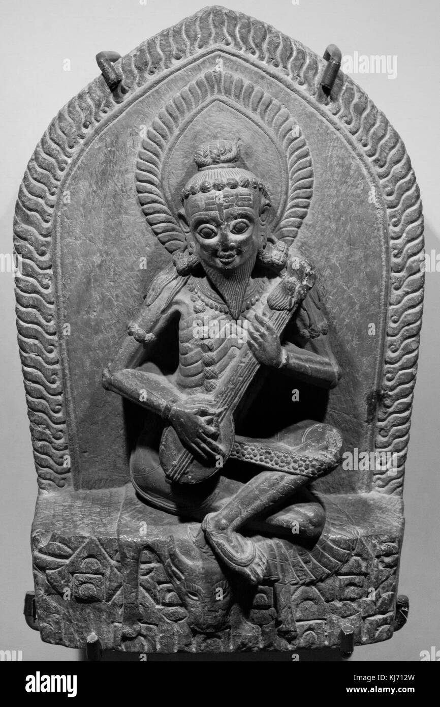 Narada, the heavenly musician, Patan Museum, Nepal. - Stock Image