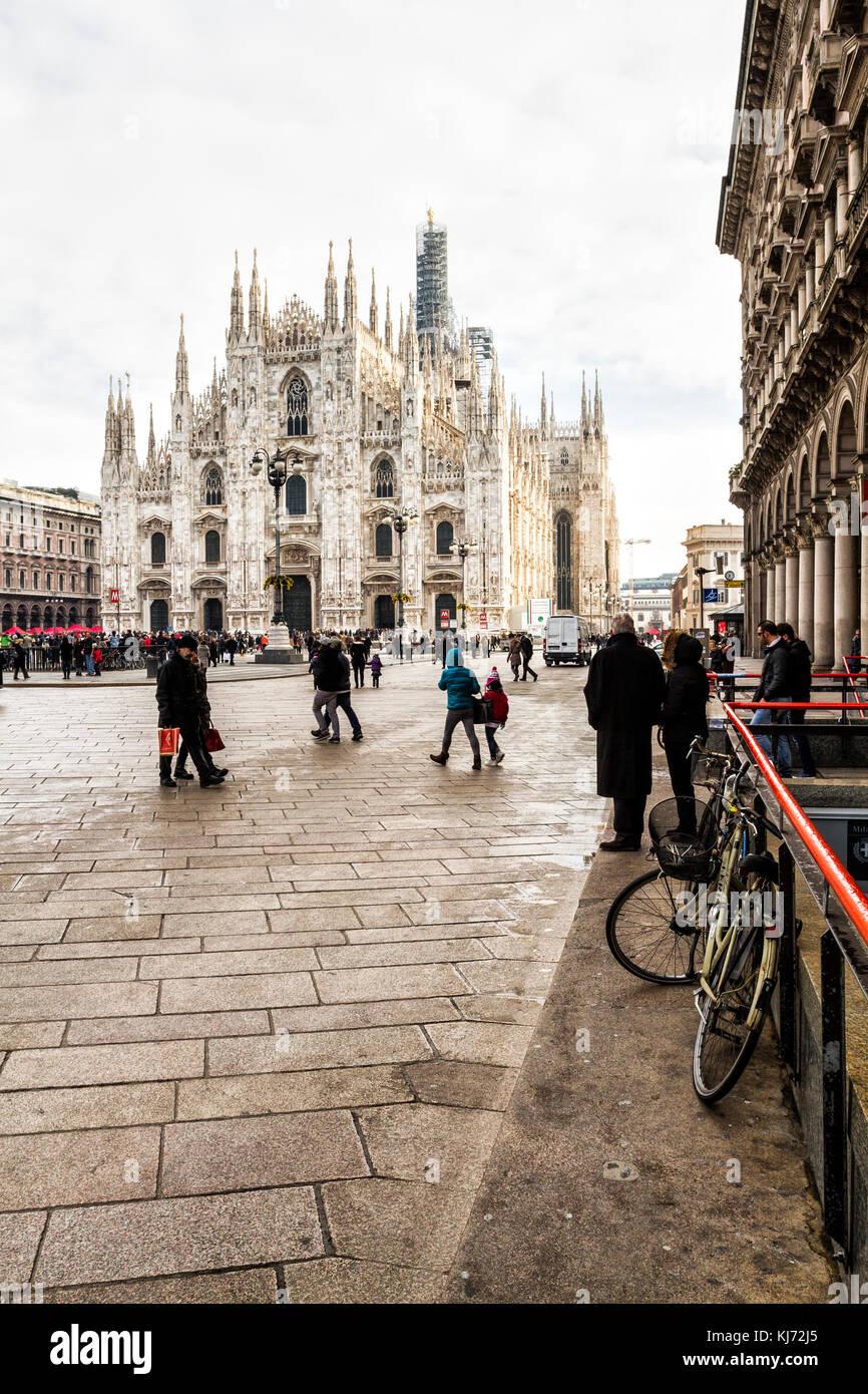 Milan Cathedral (Duomo di Milano) at Piazza del Duomo. Milan, Province of Milan, Italy. - Stock Image