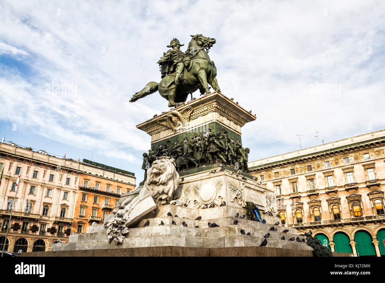 Equestrian statue of King Vittorio Emanuele II at Piazza del Duomo (Cathedral Square). Milan, Province of Milan, - Stock Image