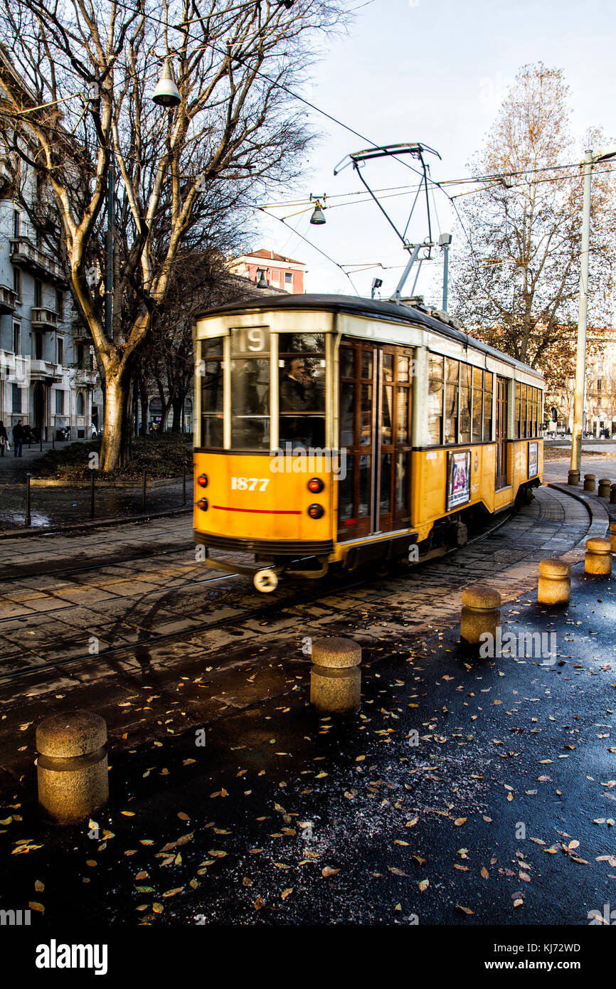 Tram in the district of Porta Sempione. Milan, Province of Milan, Italy. - Stock Image
