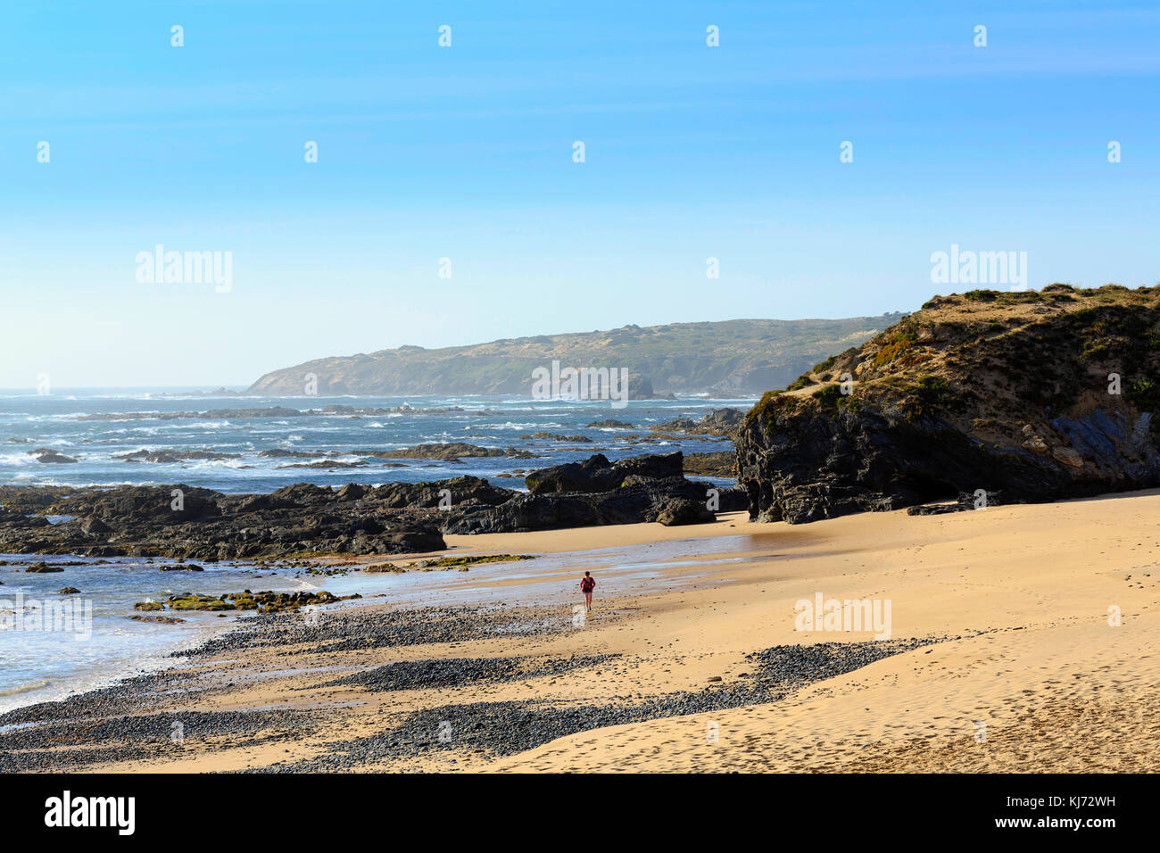 A beautiful deserted beach in the Portuguese Alentejo - Stock Image