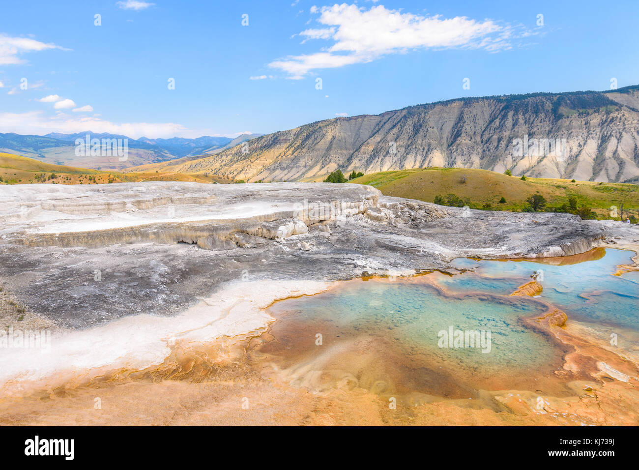 Mineral Hot Pools of Yellowstone National Park. Mammoth Hot Springs Area. - Stock Image