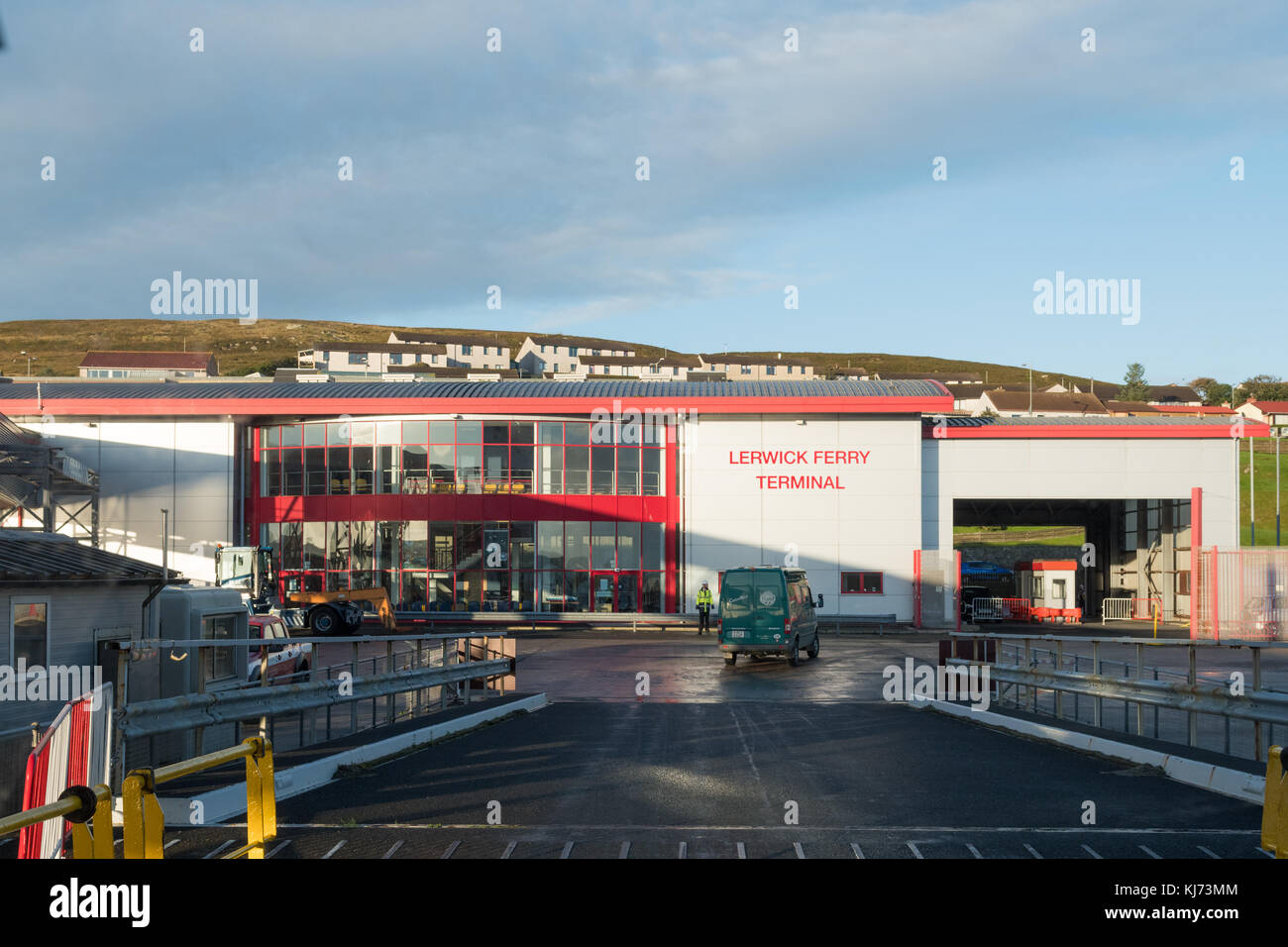 disembarking from MV Hrossey ferry at Lerwick Ferry Terminal, Shetland Islands, Scotland, UK - Stock Image