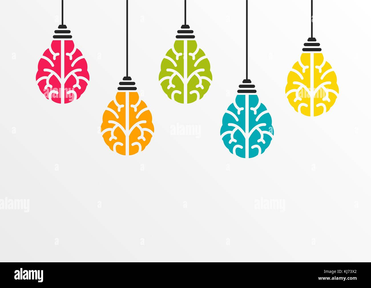 Creativity concept with colourful brain shaped light bulbs hanging from ceiling as vector illustration - Stock Image